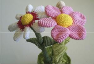 Patrón flores amigurumis