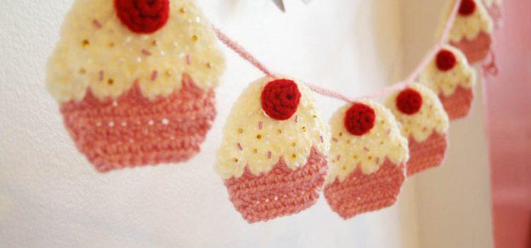 Guirnalda de Cupcakes – Patrón a crochet